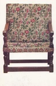 Oak Armchair Covered Turkey Work Embroidery Victoria & Albert Museum Postcard