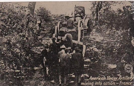 Military American Heavy Artillery Moving Into Action France
