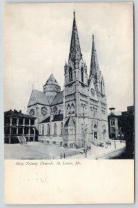 St Louis Missouri~Holy Trinity Church~Tall Steeples~1907 B&W Postcard