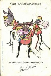 BOER WAR, Caricature English Commanders Unmasked Donkey Ram Bull (1901)