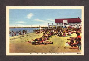 MA Beach House Fort Ft Phoenix Beach Fairhaven Mass Massachusetts Postcard Linen