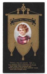 Victorian Chromo Card for Children Christian Bible Quote Black and Gold