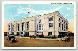 Dallas Texas~Terminal Train Depot~EBJ Union Station~Vintage Cars~1916 Postcard