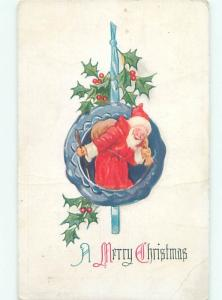 Pre-Linen Christmas SANTA CLAUS WITH HOLLY AB4818