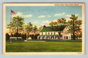 Camp Grant IL-Illinois, Officer's Club Lawn Covered Parking Linen c1942 Postcard