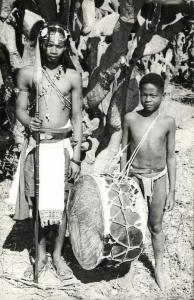 madagascar, ANDROY, Native Antandroy Boys with Spear and Drum (1950s) RPPC