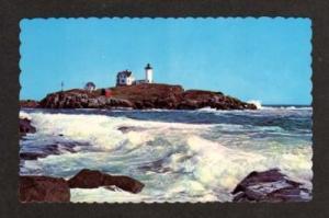 ME Nubble Lighthouse YORK BEACH MAINE Postcard PC