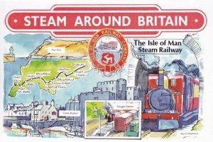 Isle Of Man Steam Railway Co Map Ships Castle Rushen Train Postcard