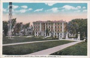 New York Syracuse Syracuse University Haven Hall From Campus