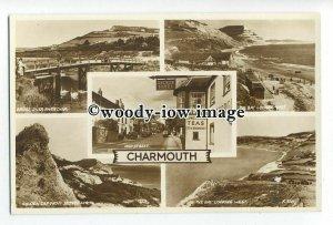 tq1838 - Devon - Multiview x 5, Various Views around Charmouth - postcard