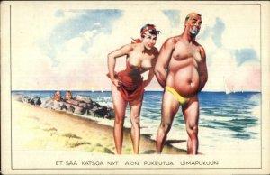 Finland Finsh Beach Bathing Beauty Chunky Guy in Speedo Old Postcard