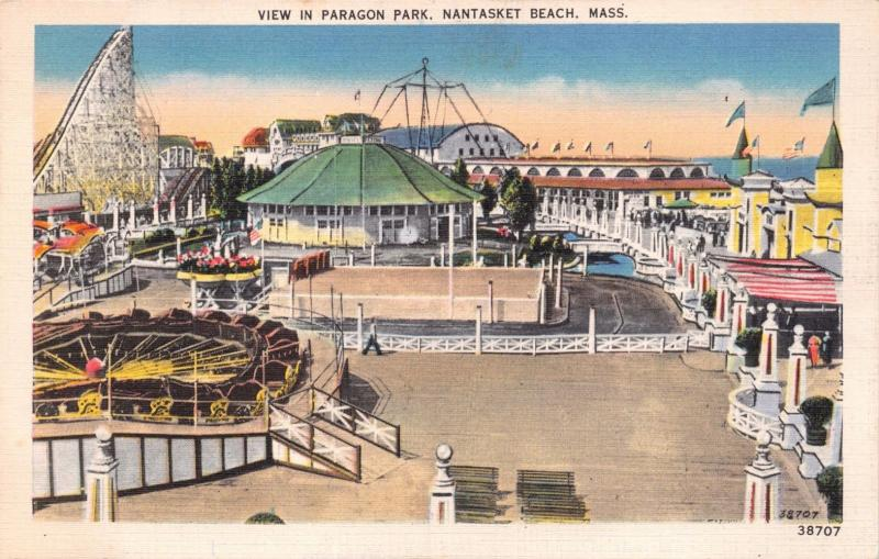 NANTASKET BEACH MASSACHUSETTS~VIEW IN PARAGON PARK POSTCARD