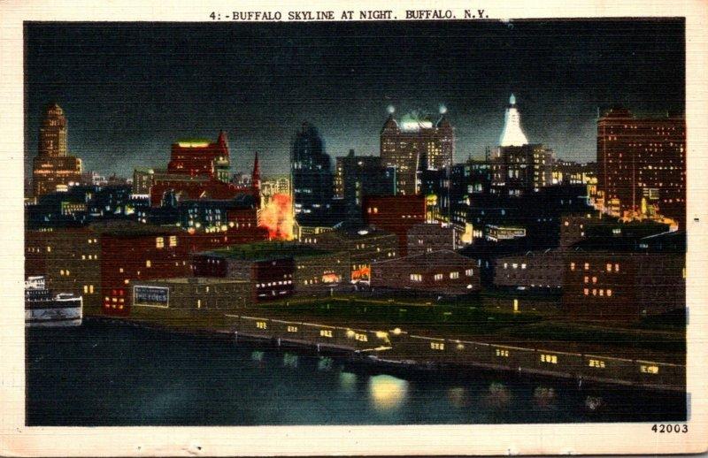 New York Buffalo Skyline At Night 1951