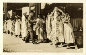 hawaii, HONOLULU, Lei Vendors, Girls Street Sellers (1920s) RPPC