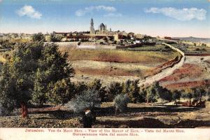 Jerusalem Israel~View of Mount Zion~Temple Mount~Walls~Skyline Panorama~1908