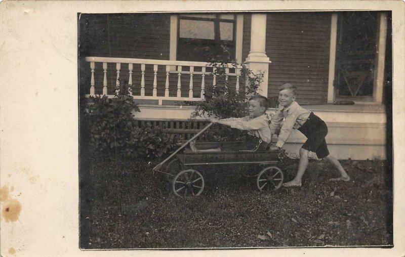 RPPC Two Boys & Coaster Express Antique Toy Wagon c1910s Vintage Photo Postcard