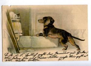 176736 PUSSY CAT & DACHSHUND by HEYER Vintage PC