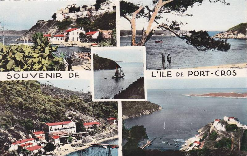 RP: Hand Colored, 4 Views, Beach, Aerial Views, Ile de Port-Cros, Hyeres, Var...