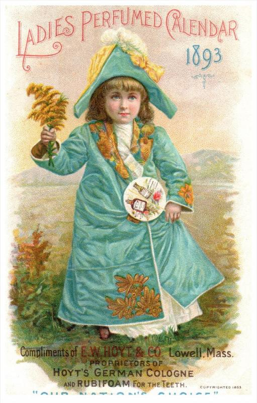 2402  Hoyt's German Cologne  1893 Calendar Trade Card