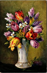 FLOWERS IN A VASE - UNPOSTED - Art Vintage Postcard