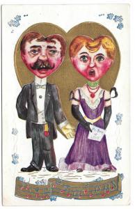 Fantasy Valentine Postcard Heart Face Heads Singers Gilt