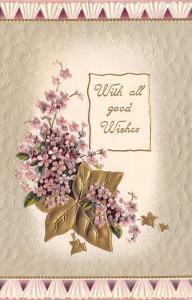 Lavender Lilacs on Big Ivy Vine~Fluted White Border~Gold Leaf Embossed~Germany
