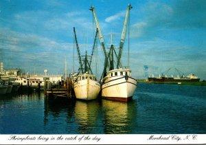 North Carolina Moorehead City Shrimp Boats At Dock 1987