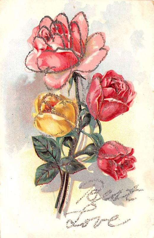 Post Card Old Vintage Antique Best Love Flower Unused