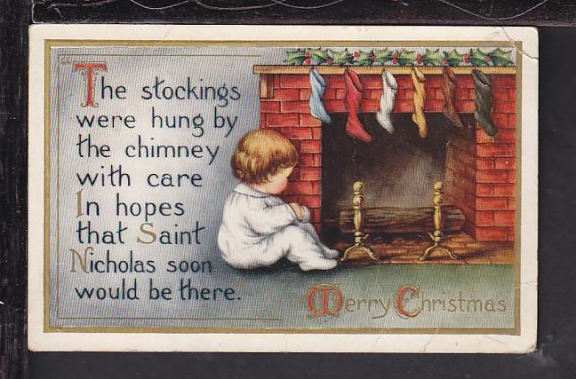 Merry Christmas,Child,Fireplace Postcard BIN