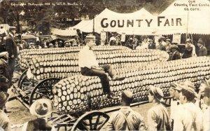 1908 RPPC Exaggeration Our County Fair Contest on Corn Dallas Texas Real Photo