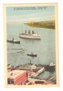 Canadian Steamship lines  THE SAGUNAY  & Oceanliner arriving in Quebec, Canad...