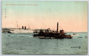 Boston Massachusetts~Newtown Revere Beach Ferry Boat~Long Steamboat 1913 PC