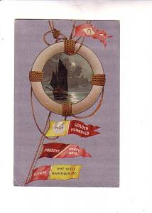 Ship,  Mast, Buoy, Flags: Past, Present, Future, BB London, Printed in Saxony...