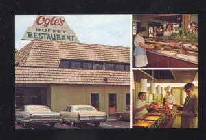 GATLINBURG TENNESSEE OGLE'S RESTAURANT 1960's CARS ADVERTISING OLD POSTCARD