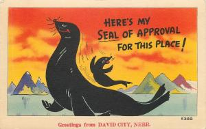 My Seal of Approval for David City Nebraska~Seals on Ice~Sunset~1940s Linen PC
