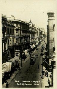 turkey, ISTANBUL PERA, Beyoglu Istiklal Cadessi, Tram (1940s) RPPC Postcard