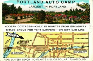 Vtg Advertising Postcard Portland Oregon OR Portland Auto Camp Americhrome UNP
