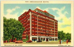 Kansas City Missouri Postcard THE AMBASSADOR HOTEL Broadway at 36th Street LINEN