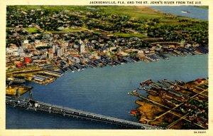 FL - Jacksonville. Aerial View, Bridges Across St. John's River