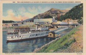 Oregon The Lake Bonneville Docked At Bonneville Dam 1936 Curteich sk6342