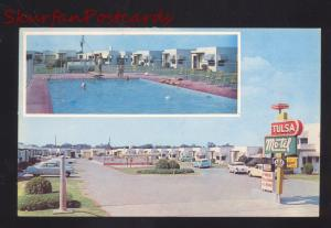 TULSA OKLAHOMA ROUTE 66 MOTEL SWIMMING POOL ADVERTISING POSTCARD CARS