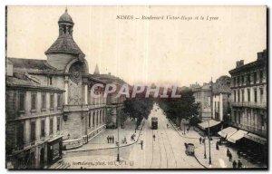 Old Postcard Nimes Boulevard Victor Hugo and the Lycee