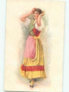 Pre-Linen Switzerland THE SWISS DANCER - SWISS GIRL IN TRADITIONAL DRESS AB7896