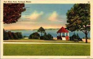 PORTLAND MAINE FORT ALLEN PARK EASTERN Vintage Linen POSTCARD Posted 1942
