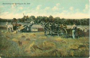 North Dakota Farming 1911 Postcard, Harvesting and Seeding