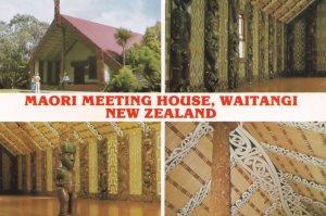 Maori Meeting House Waitangi New Zealand Postcard