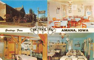 Amana Iowa~Ox-Yoke Inn (Amana-Woodshed-Blue Room Views)~1950s Postcard