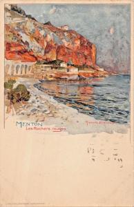 MENTON FRANCE~les ROCHERS ROUGES-MANUEL WIELANDT GERMAN ARTIST POSTCARD 1950