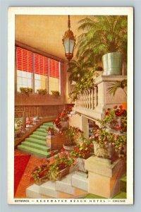 Chicago IL-Illinois, Edgewater Beach Hotel Entrance Advertising Vintage Postcard