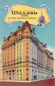 Air Conditioned Willard Hotel, Washington, D.C., Early Postcard, Unused